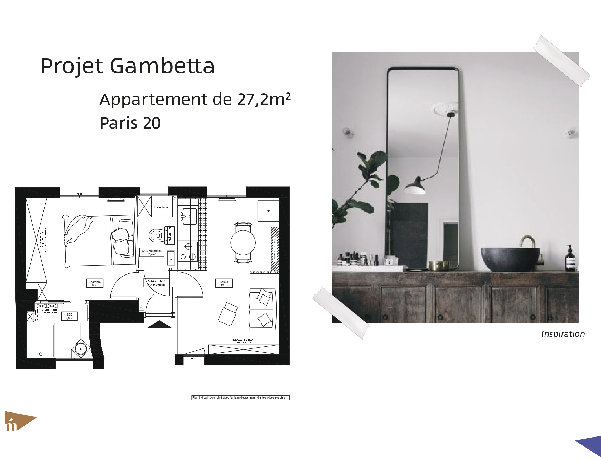 photo Projet Gambetta - Appartement 27,2 m² - Paris 20 Léa Mast - Architecte hemea