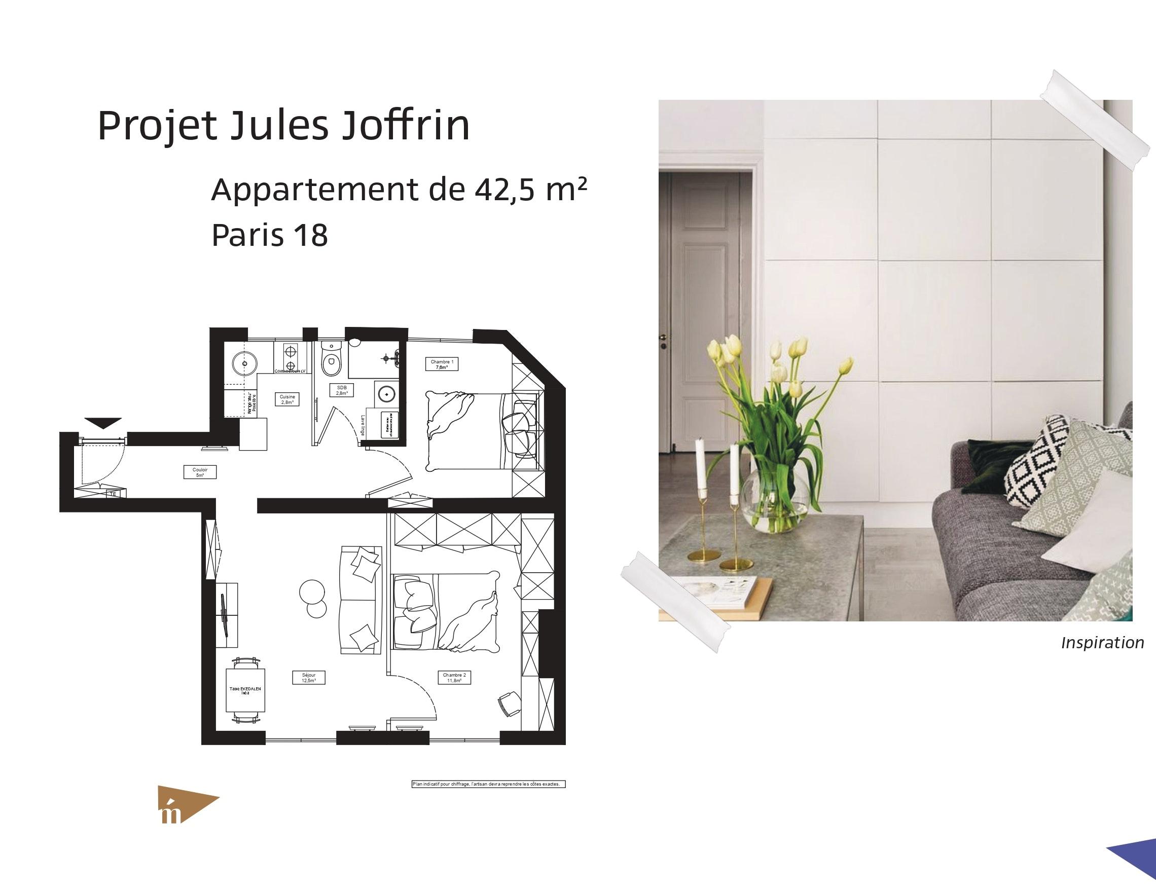 photo Projet Jules Joffrin - Appartement de 42,5m² - Paris 18 Léa Mast - Architecte hemea