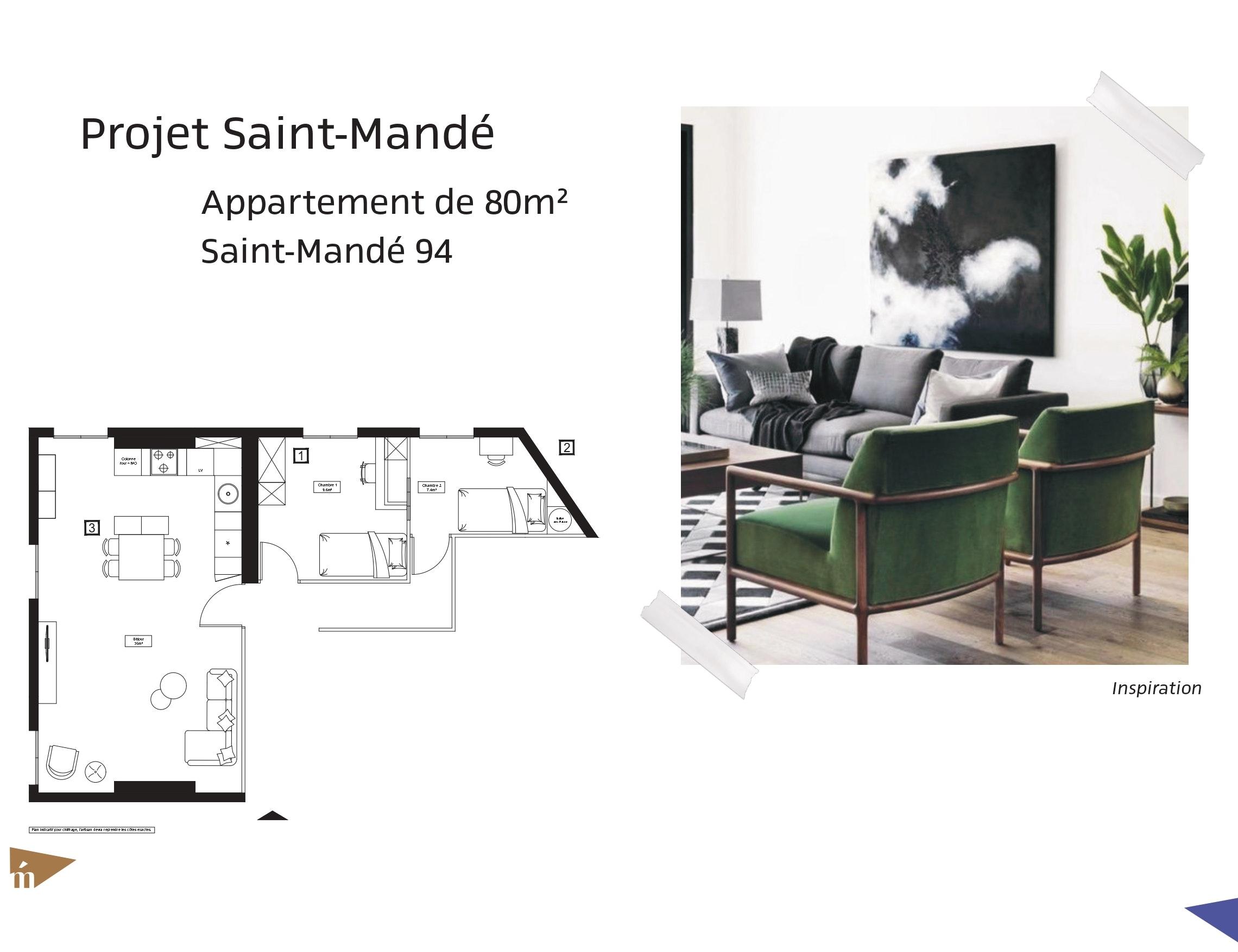 photo Projet Saint-Mandé - Appartement 80 m² - Saint-Mandé Léa Mast - Architecte hemea