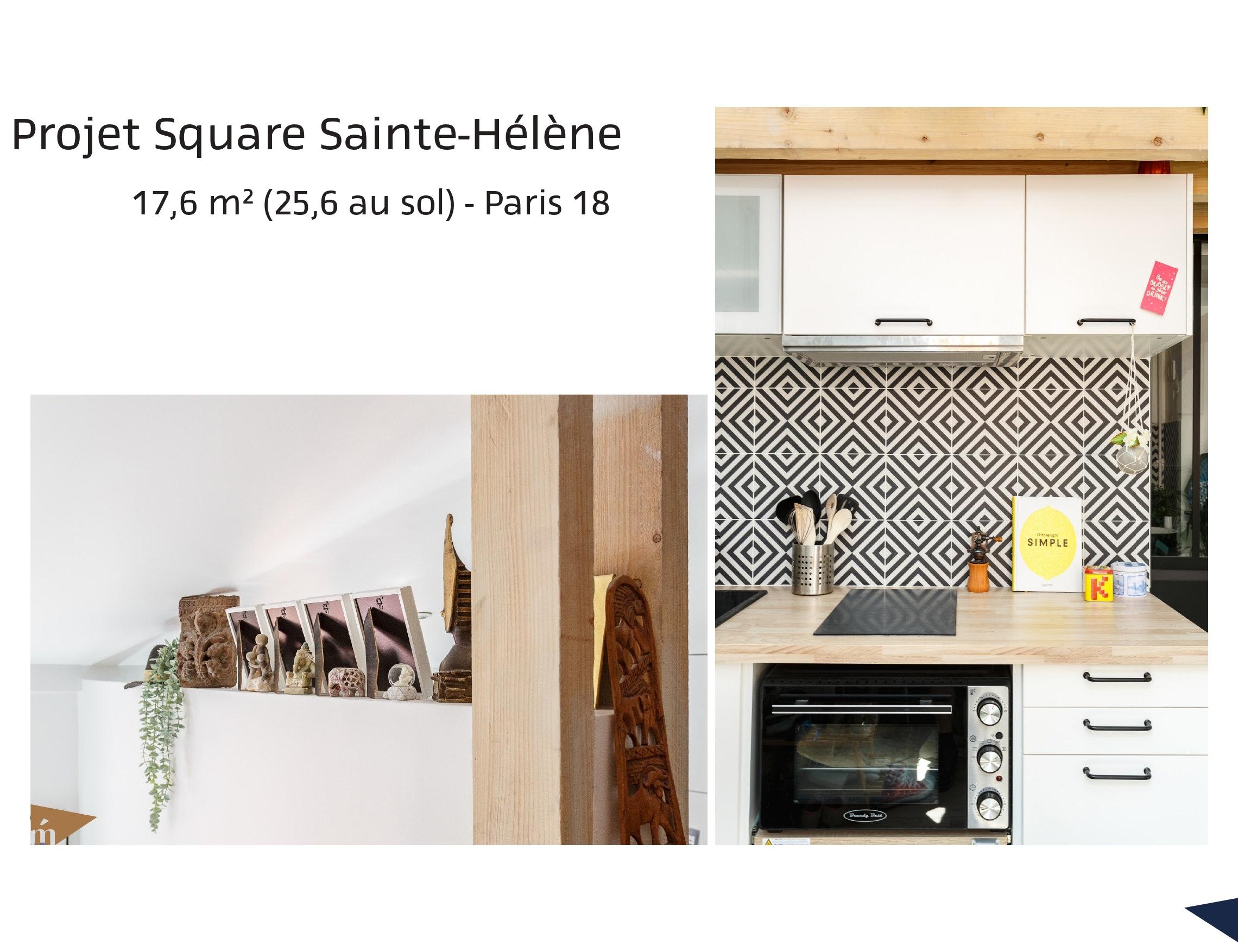 photo Projet Square Sainte-Hélène - 17m² (25,6m² au sol) - Paris 18 Léa Mast - Architecte hemea