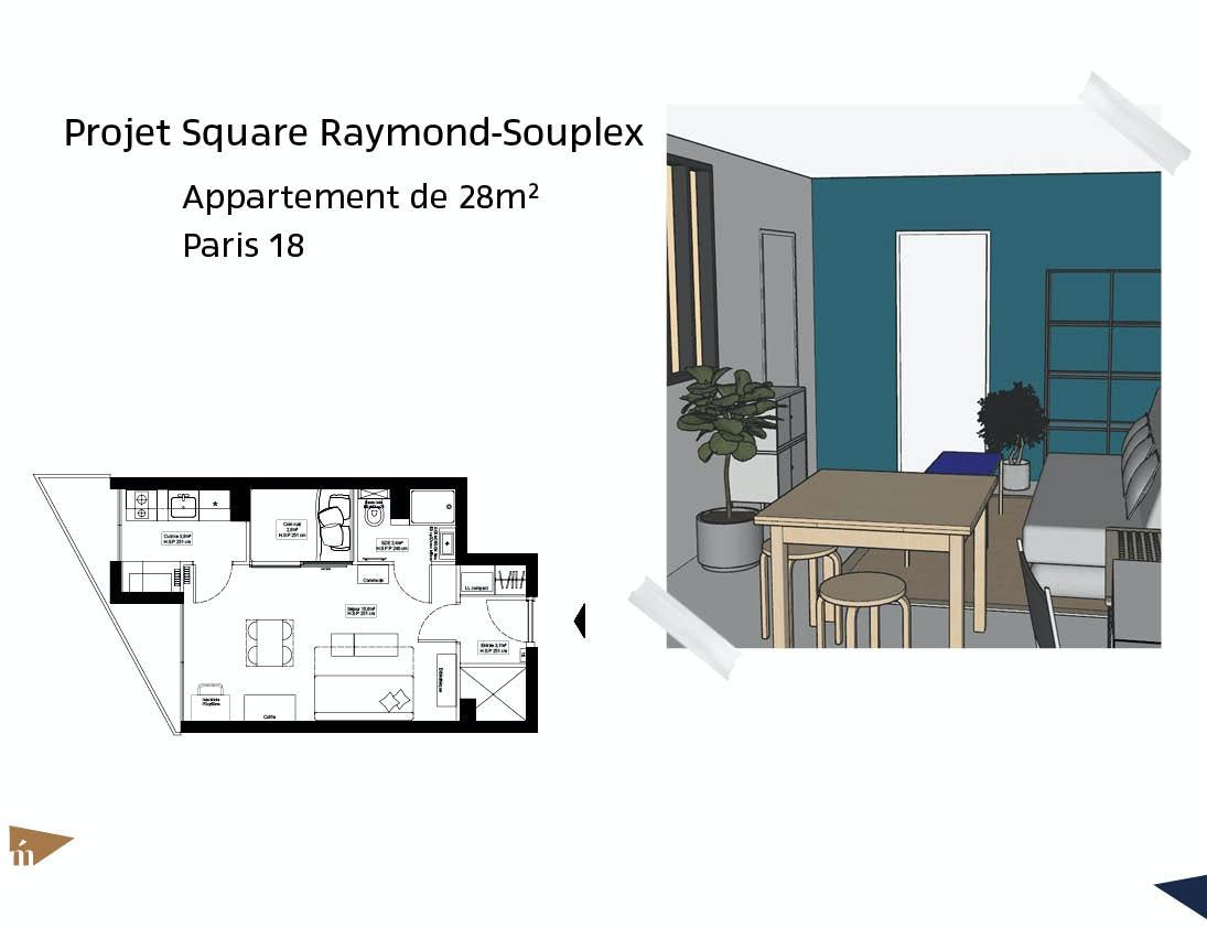 photo Projet Square Raymond-Souplex - 48m² - Paris 18 Léa Mast - Architecte hemea