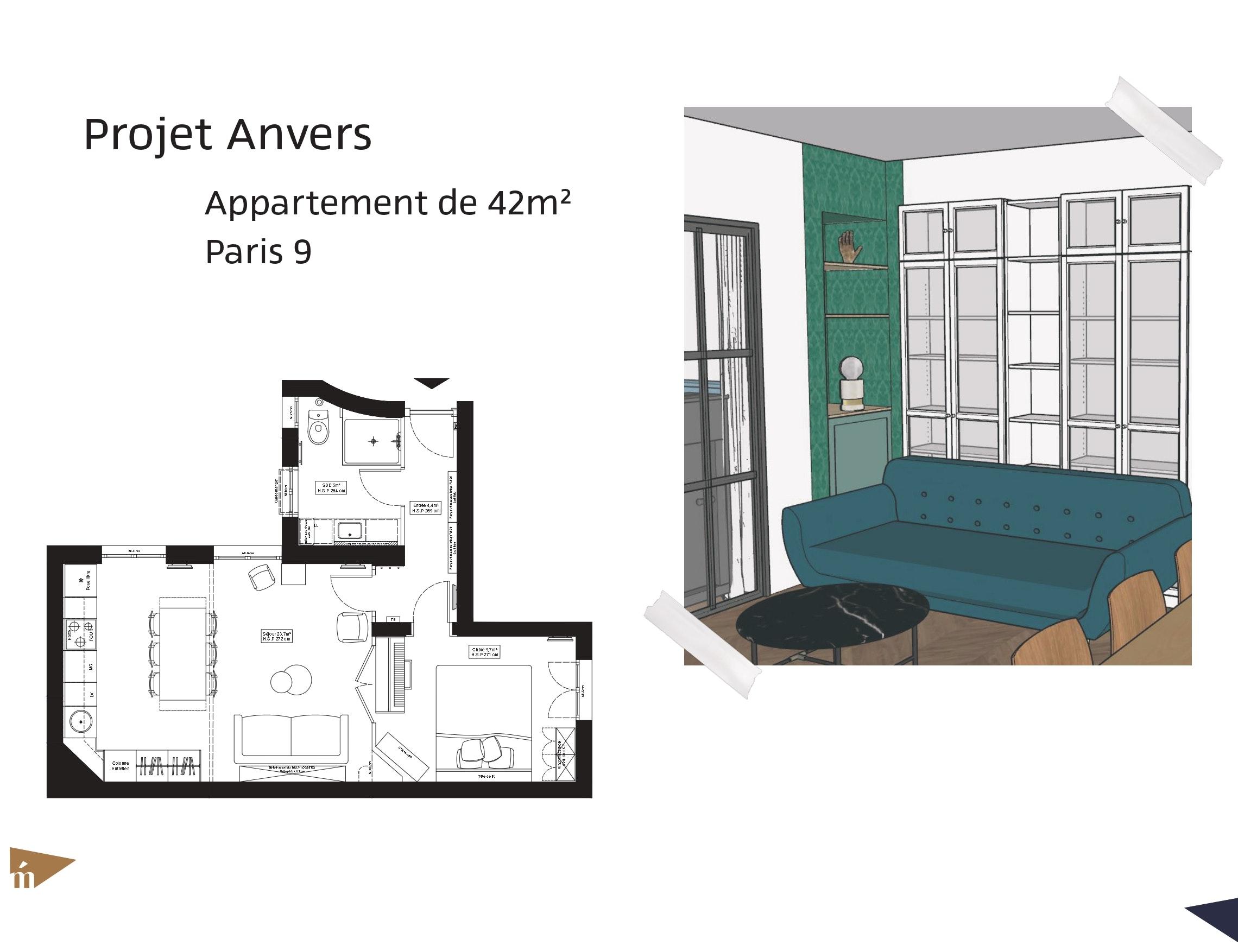 photo Projet Anvers - 42m² - Paris Léa Mast - Architecte hemea