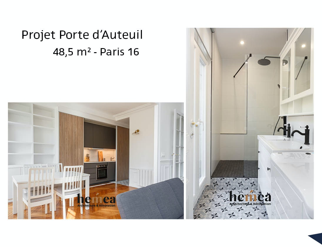 photo Projet Porte d'Auteuil - 48,5m² - Paris 16 Léa Mast - Architecte hemea