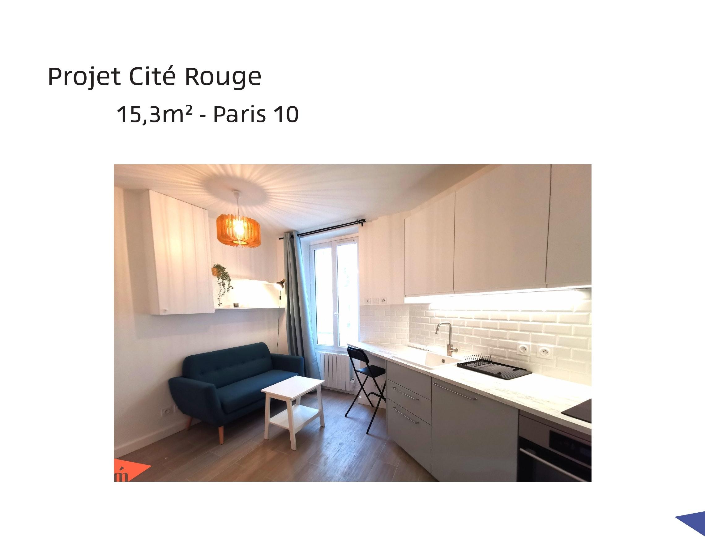 photo Projet Cité Rouge - Studio 15,3m² - Paris 10 Léa Mast - Architecte hemea