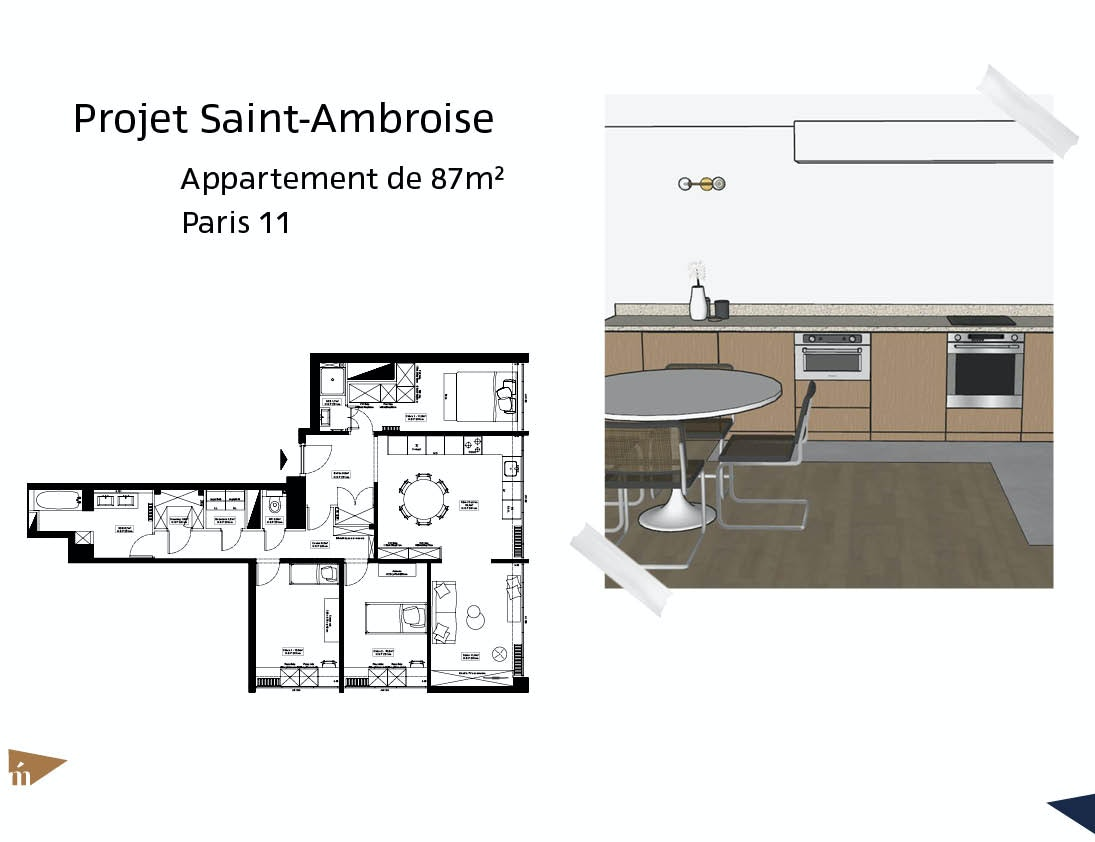 photo Projet Saint-Ambroise - 87m² - Paris 11 Léa Mast - Architecte hemea
