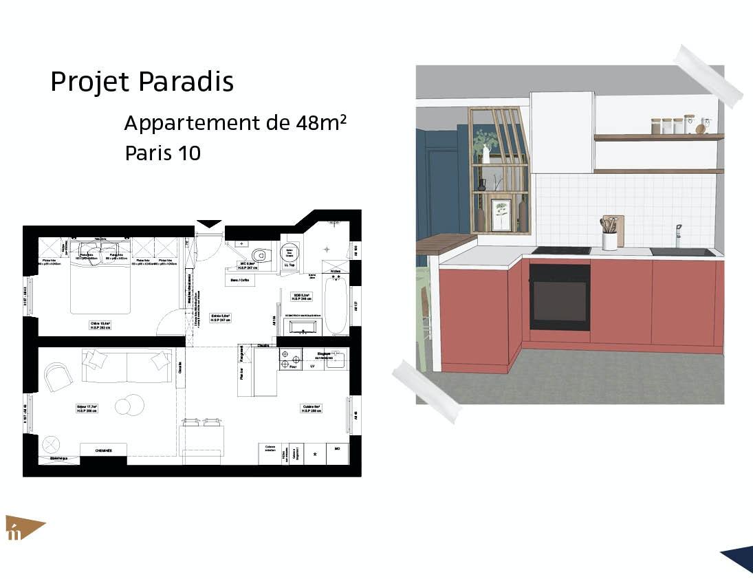 photo Projet Paradis - 48m² - Paris 10 Léa Mast - Architecte hemea