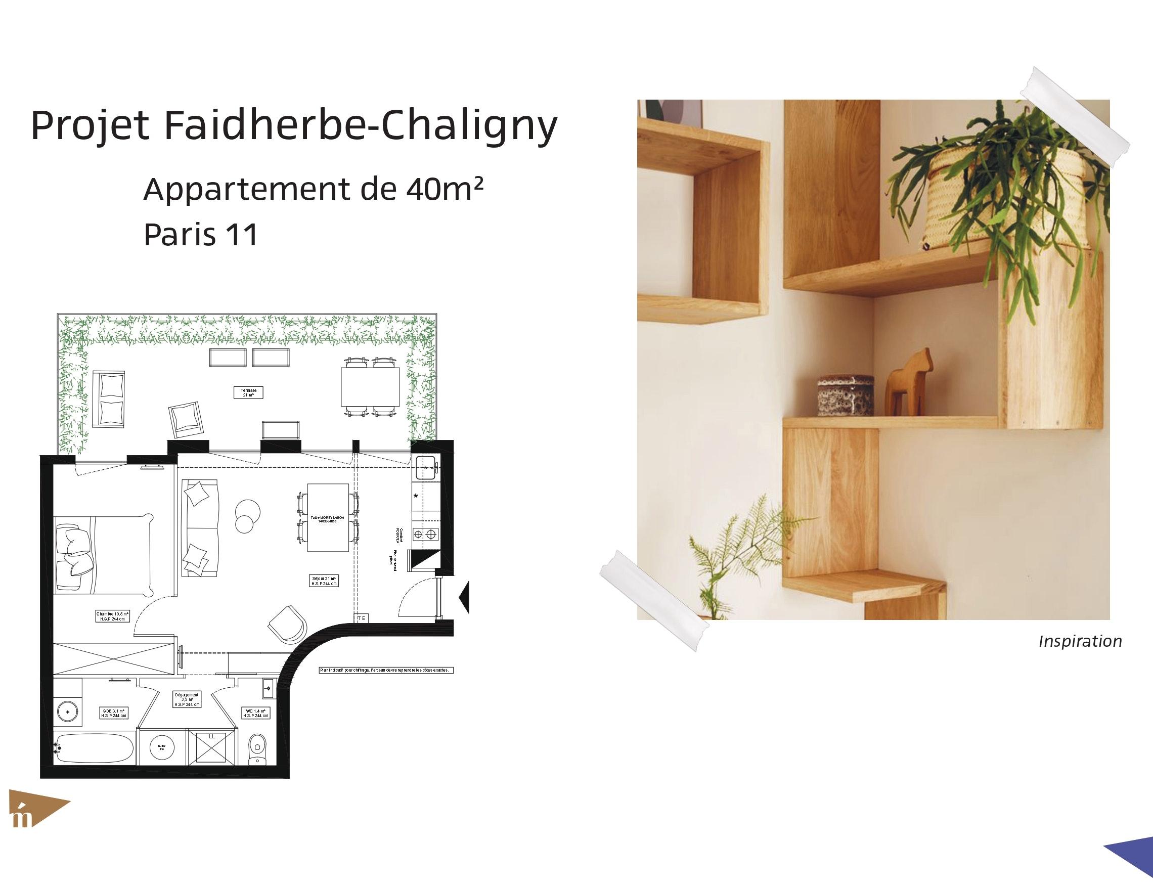 photo Projet Faidherbe-Chaligny - Appartement de 40m² - Paris 11 Léa Mast - Architecte hemea