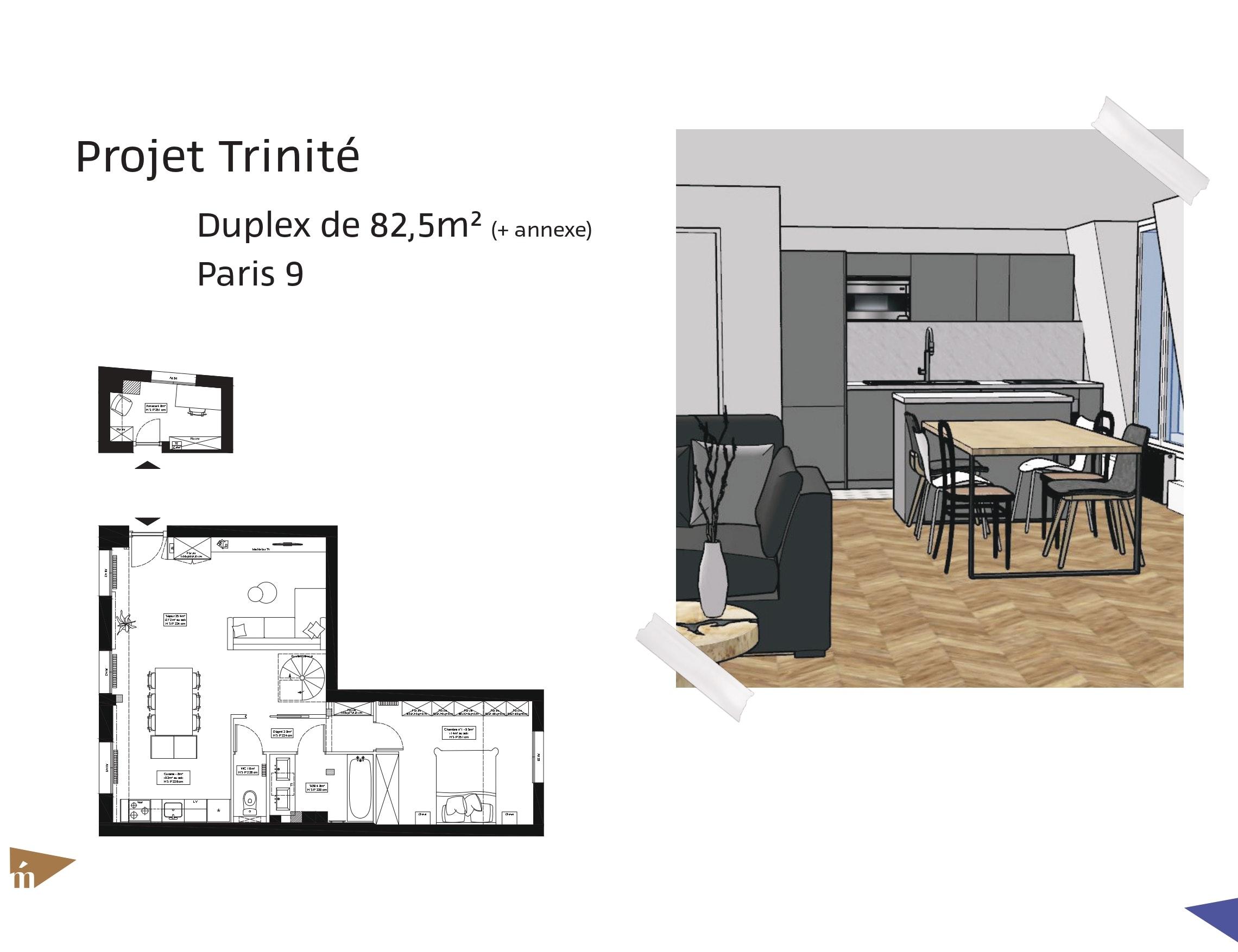 photo Projet Trinité - Duplex de 82,5m² / Annexe de 4,8m² - Paris 9 Léa Mast - Architecte hemea
