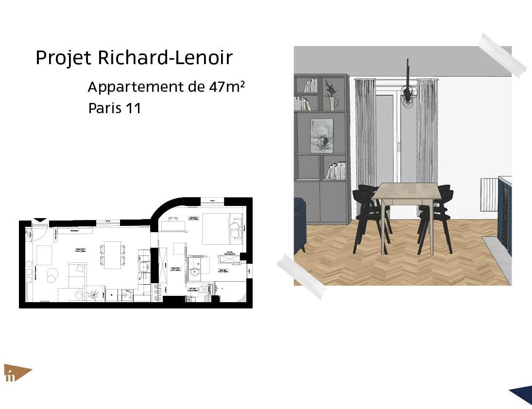 photo Projet Richard-Lenoir - 47m² - Paris 11 Léa Mast - Architecte hemea