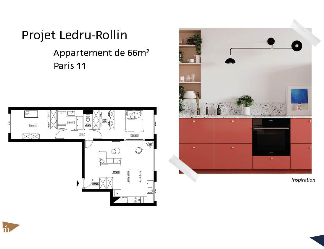 photo Projet Ledru-Rollin - 66m² - Paris 11 Léa Mast - Architecte hemea