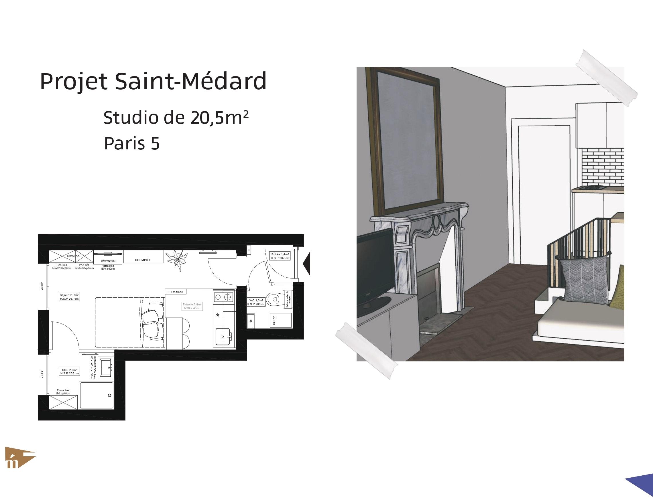 photo Projet Saint-Médard - Studio de 20,5m² - Paris 5 Léa Mast - Architecte hemea