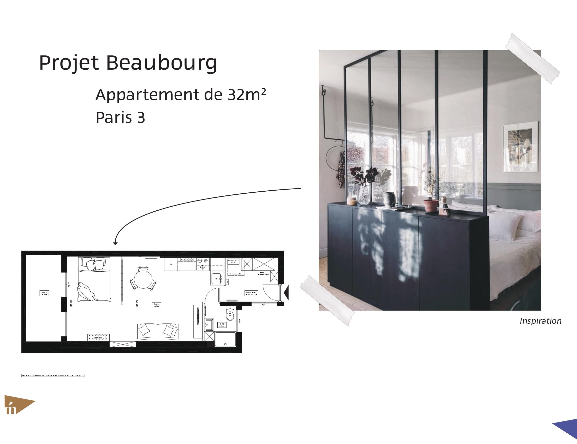 photo Projet Beaubourg - Appartement 32 m² - Paris 3 Léa Mast - Architecte hemea
