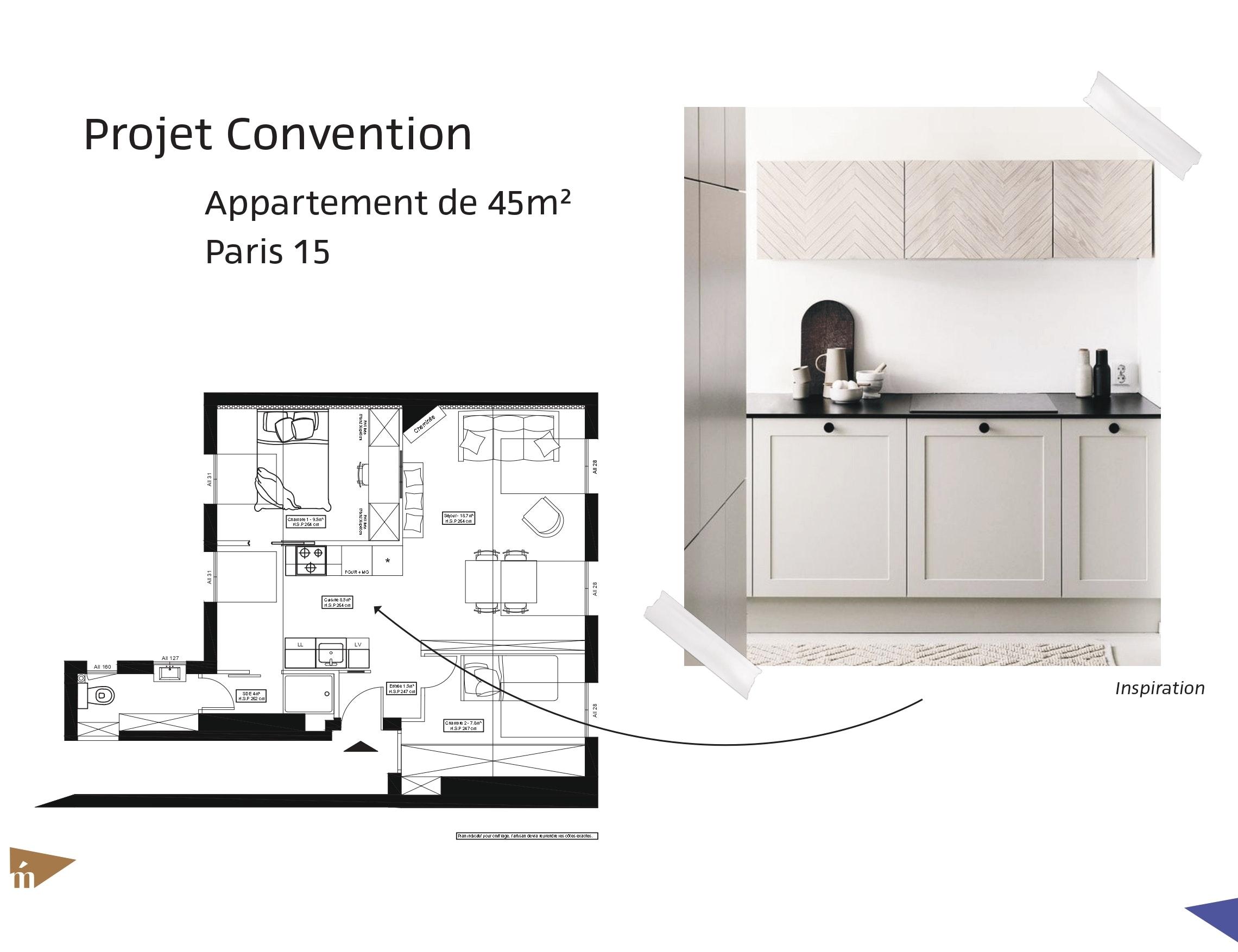 photo Projet Convention - Appartement 45 m² - Paris 15 Léa Mast - Architecte hemea