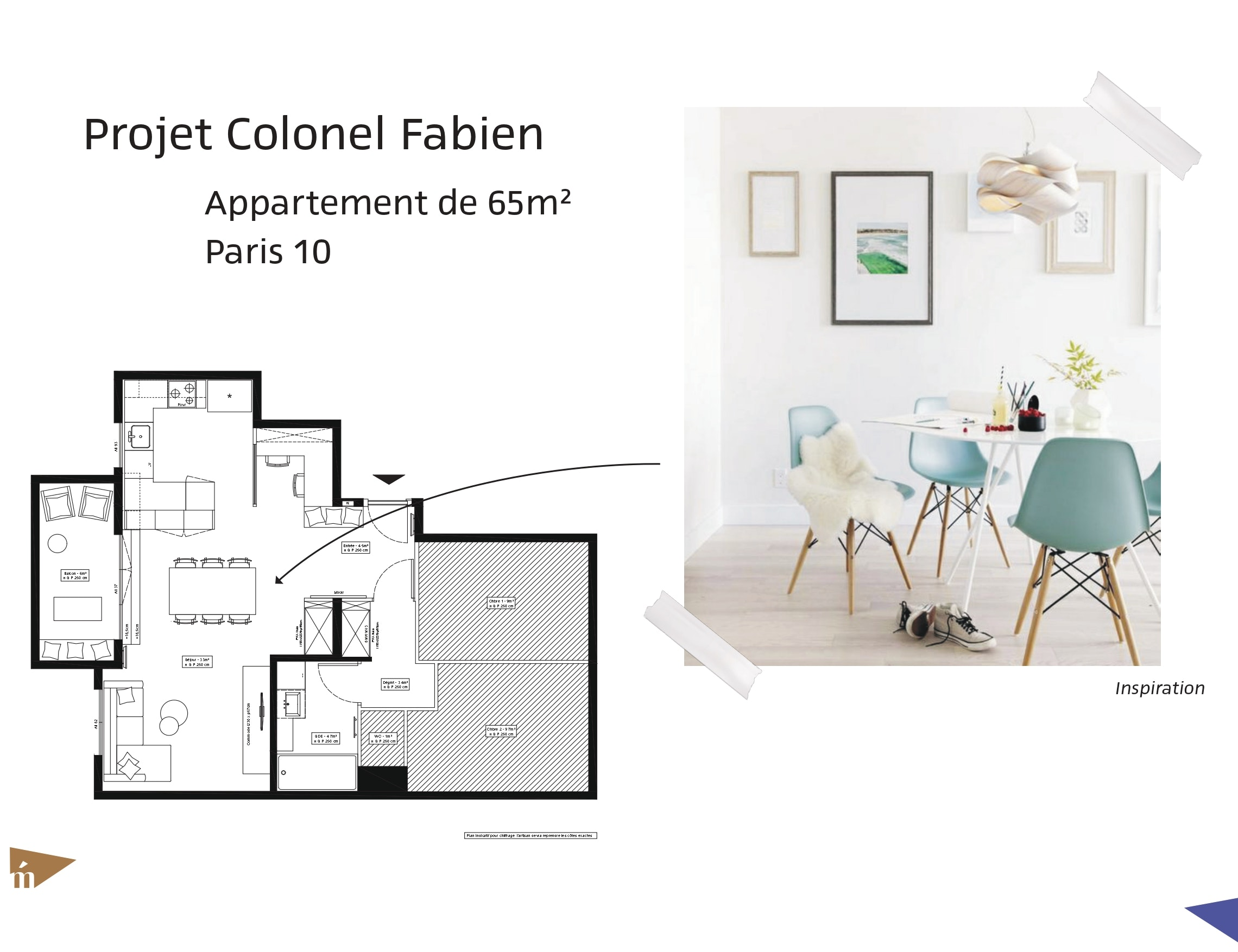 photo Projet Colonel Fabien - Appartement 65 m² - Paris 10 Léa Mast - Architecte hemea