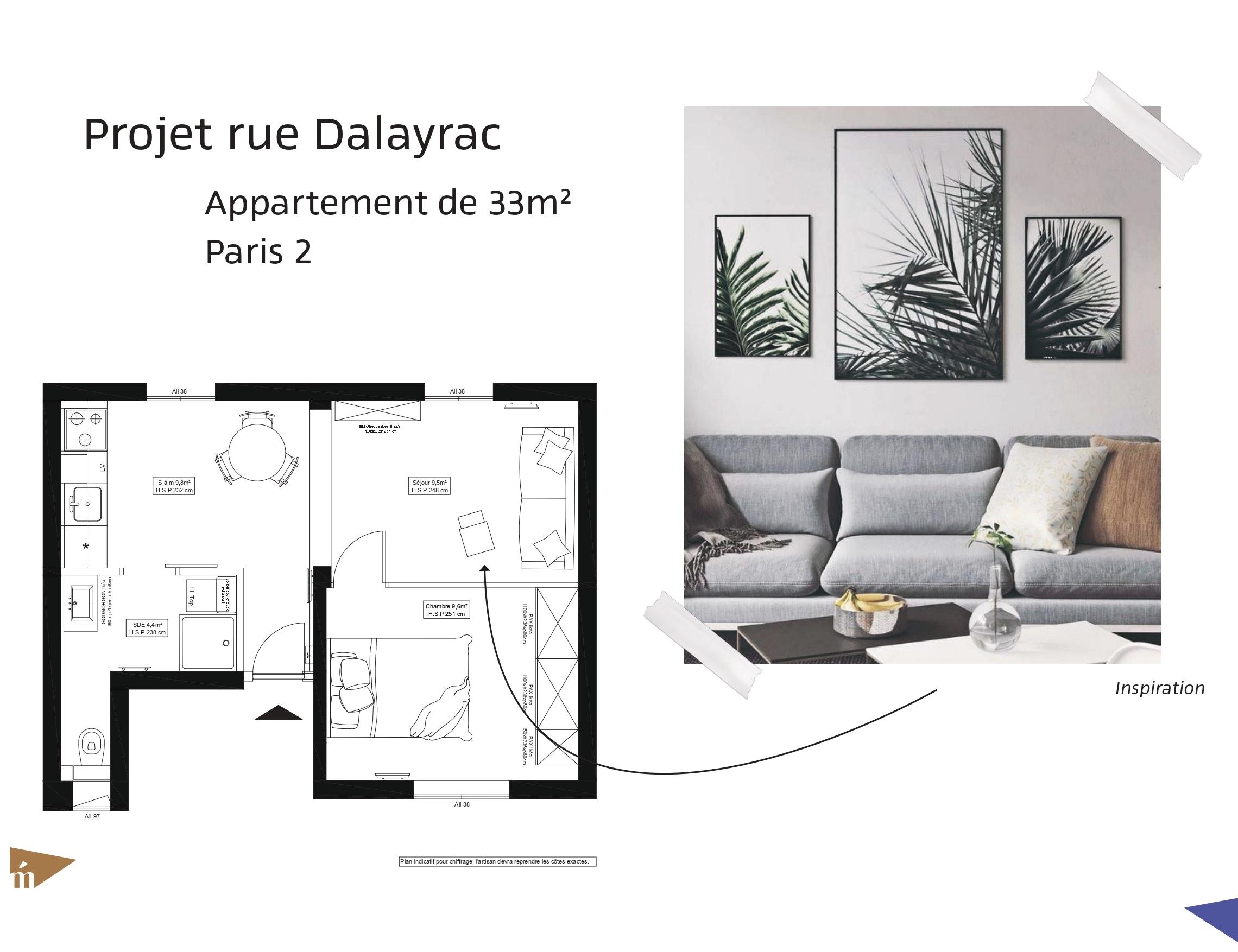 photo Projet rue Dalayrac - T2 33 m² - Paris 2 Léa Mast - Architecte hemea