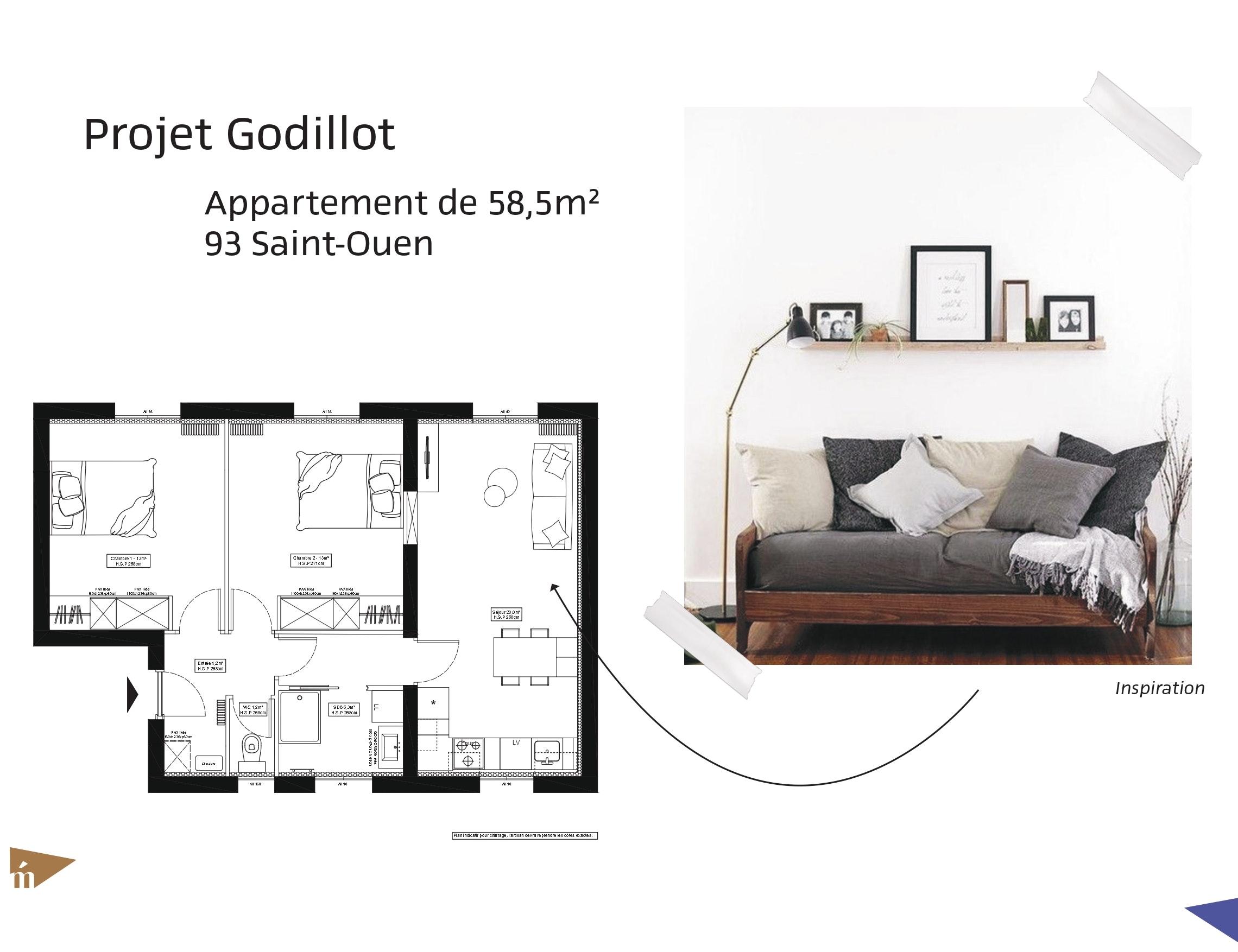 photo Projet Godillot -  Appartement 58 m² - Saint-Ouen Léa Mast - Architecte hemea
