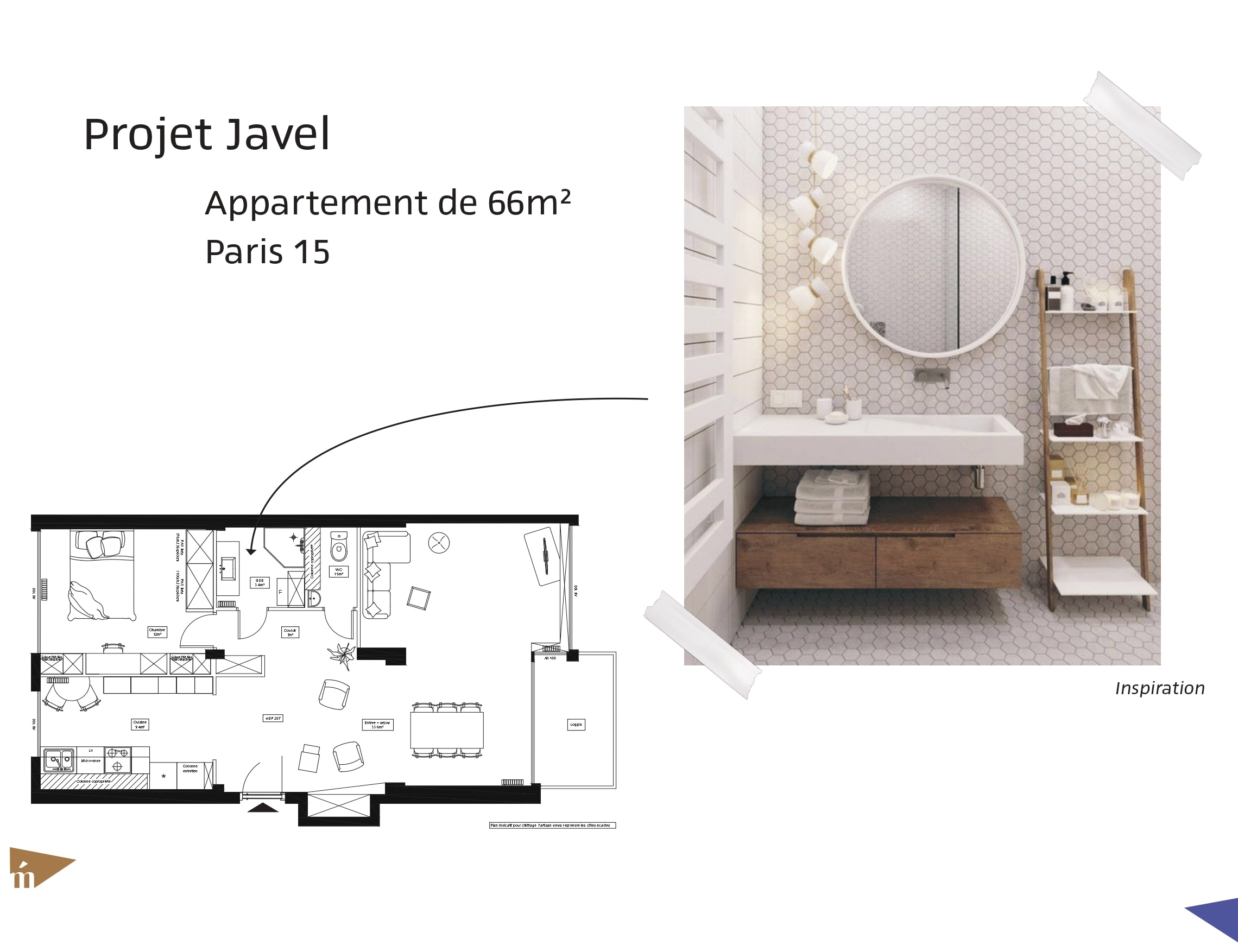photo Projet Javel - T2 66 m² - Paris 15 Léa Mast - Architecte hemea