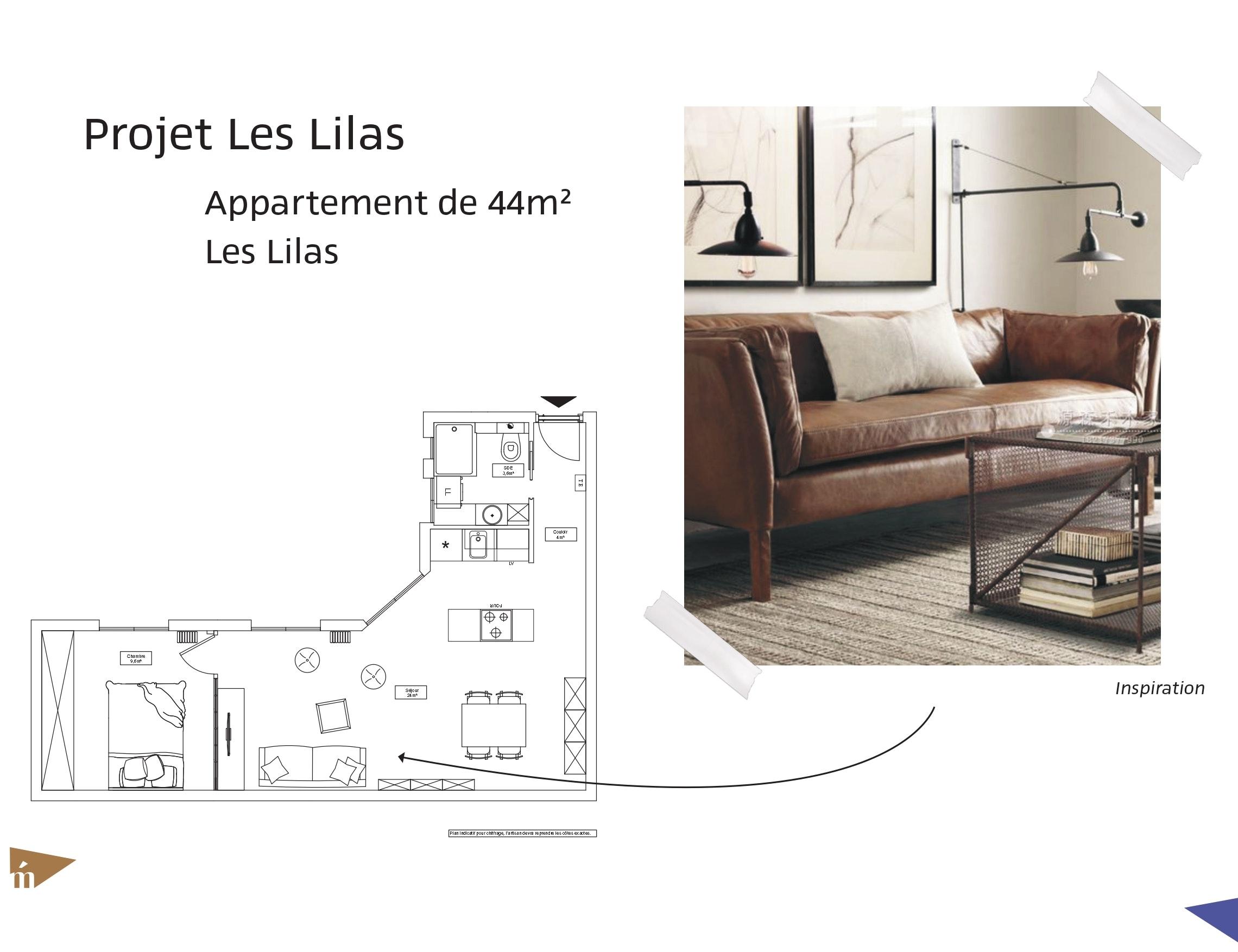 photo Projet les Lilas - T2 44 m² - Les Lilas Léa Mast - Architecte hemea