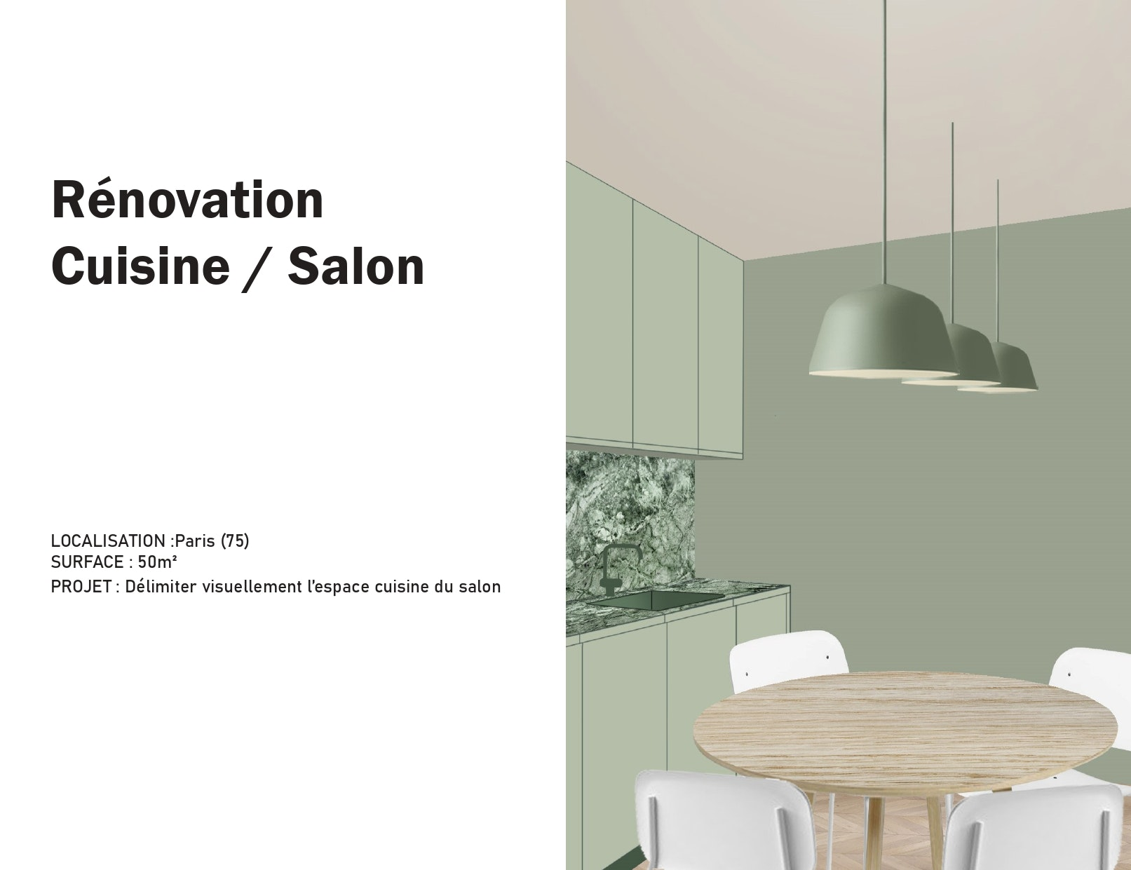 photo Rénovation cuisine/séjour Manon Le Gall - Architecte hemea
