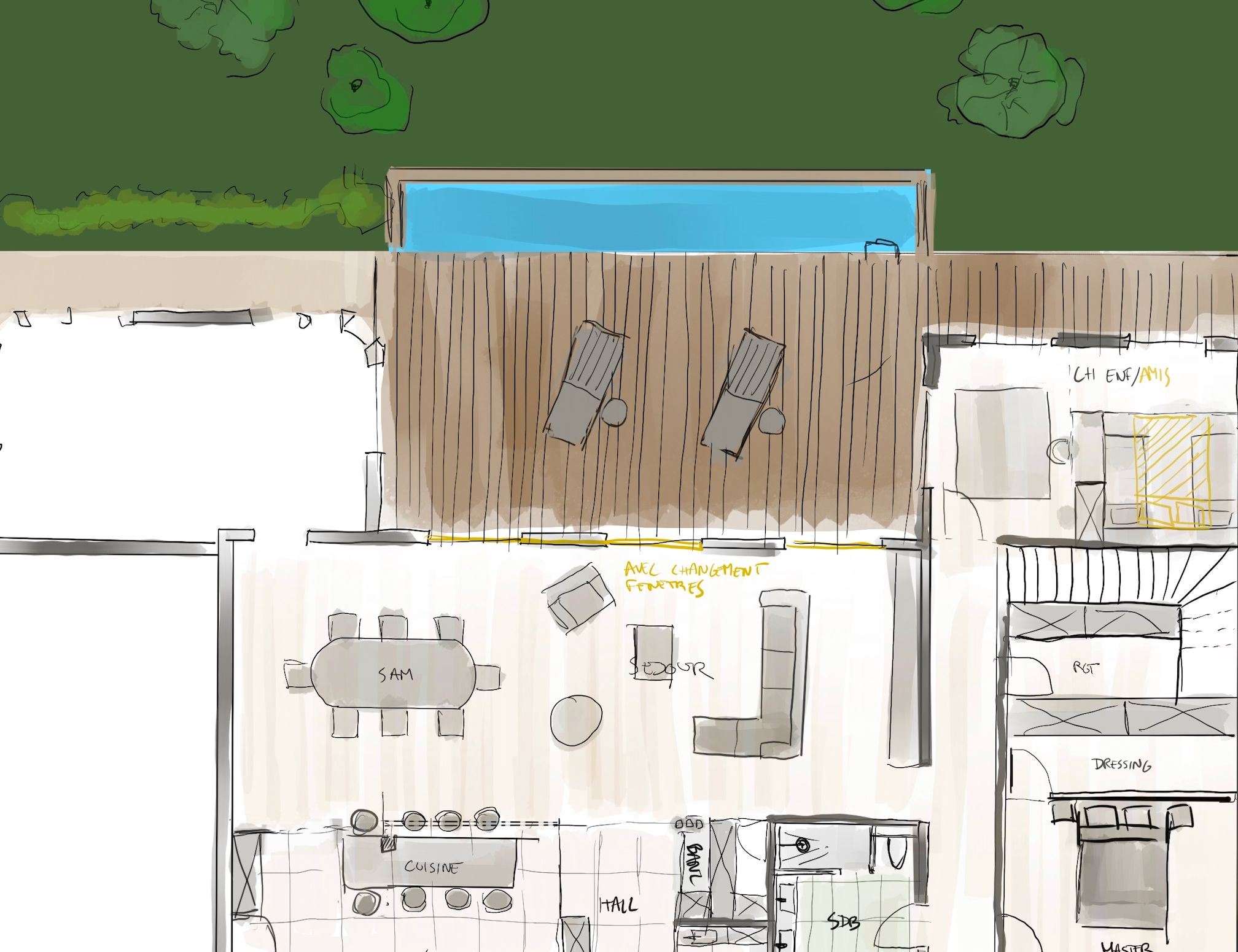 photo Esquisse plan I Maison individuelle à Charbonnières-les-bains Nicolas Kinski, Architecte d'intérieur hemea